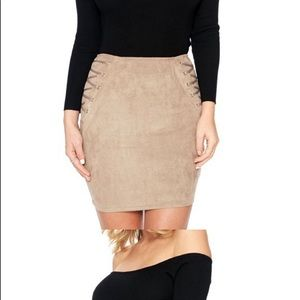 NAKED WARDROBE! Faux suede Mini skirt